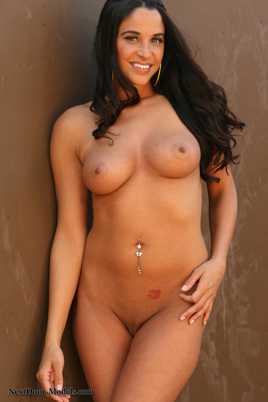 button belly piercing with girls Nude